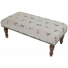Hines of Oxford Country Linen From the Field Upholstered Stool