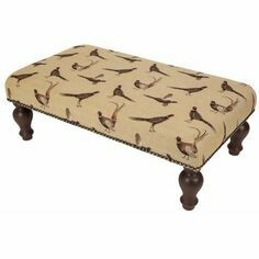 Hines of Oxford Country Pheasants Upholstered Stool