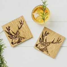 Scottish Oak Set of 2 Stag Coasters