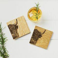 Scottish Oak Set of 2 Highland Cow Coasters