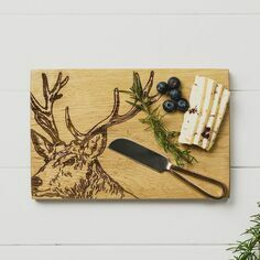Scottish Oak Stag Oak Cheese Board & Knife Set