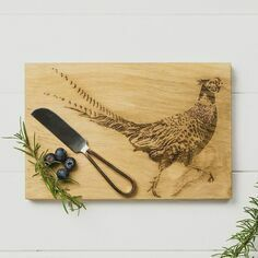 Scottish Oak Pheasant Oak Cheese Board & Knife Set