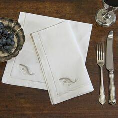 Sibona Silver Fish Hand-Embroidered Napkins
