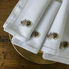 Sibona Pheasant Feather Hand-Embroidered Napkins
