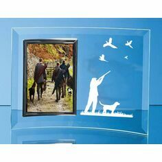 Pheasant Shooting Scene Curved Glass Photo Frame