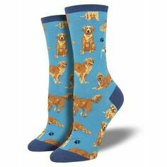 Ladies Blue Golden Retriever Socks