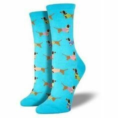 Ladies Sky Blue Dachshund Socks
