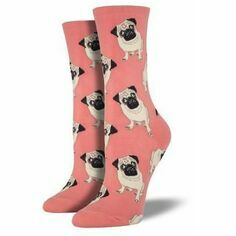 Pair of Ladies Peach Pug Socks