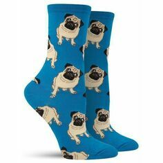 Pair of Ladies Blue Pug Socks