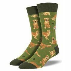 Pair of Men's Green Golden Retriever Socks