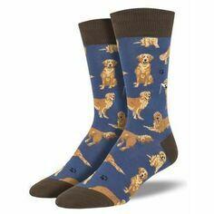 Pair of Men's Blue Golden Retriever Socks