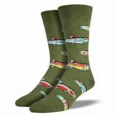 Pair of Men's Parrot Green Trout Socks