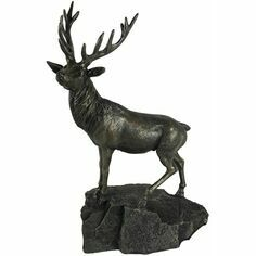 Oriele Bronze Cold Cast Stag on Rock Sculpture