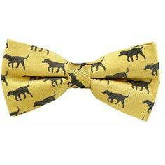 Fox & Chave Black Labrador on Gold Silk Bow Tie