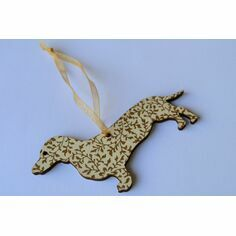 Victoria Armstrong White & Gold Dachshund Wooden Hanging Decoration