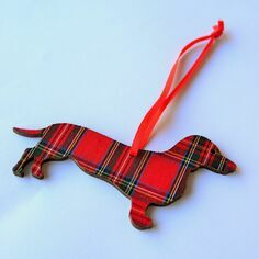 Victoria Armstrong Red Tartan Dachshund Wooden Hanging Decoration