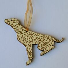 Victoria Armstrong White & Gold Labrador Wooden Hanging Decoration