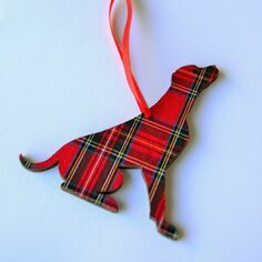 Victoria Armstrong Red Tartan Labrador Wooden Hanging Decoration