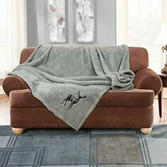 Luxury Stag Embroidered Soft Teddy Throw Silver
