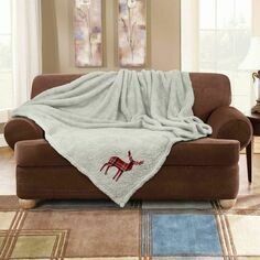 Luxury Stag Embroidered Soft Teddy Throw Cream