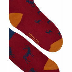 Joules Striking Red and Navy Stag Socks