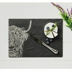 The Just Slate Company Highland Cow Cheese Board & Knife Set