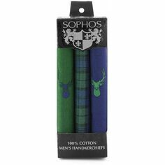 Set of 3 Tartan Stag Cotton Handkerchiefs