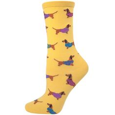 Ladies Mustard/Yellow Dachshund Socks