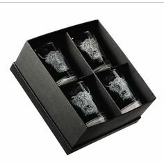 Just Slate Highland Cow Etched Glass Tumbler Gift Set (Set of 4)