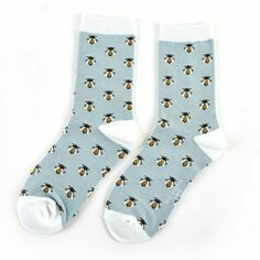 Ladies Powder Blue Honey Bees Socks