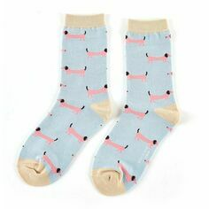 Ladies Powder Blue Dachshund Socks