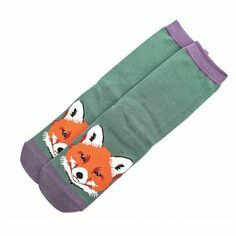 Ladies Green Fox Face Socks