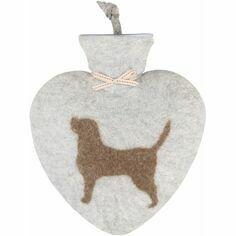 Felt Heart Shaped Labrador Hot Water Bottle - Light Grey