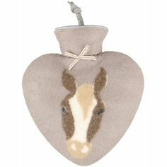 Felt Heart Shaped Horse Hot Water Bottle - Brown