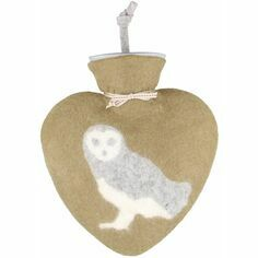 Felt Heart Shaped Owl Hot Water Bottle - Brown