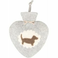 Felt Heart Shaped Dachshund Hot Water Bottle - Light Grey