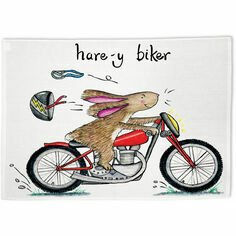 Hare-y Biker Tea Towel