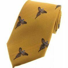 Soprano Gold Luxury Silk Tie With Flying Pheasant Design