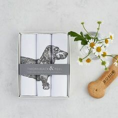 Thornback & Peel Set of 3 Grey Dachshund Handkerchiefs