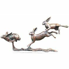 Limited Edition - Small Hares Running Bronze Sculpture