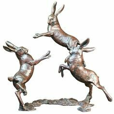 Limited Edition - Medium Hares Playing Bronze Sculpture