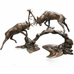 Limited Edition - Dawn Contest Rutting Stags Bronze Sculpture