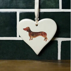 Dachshund Smooth Haired Brown Hanging Heart