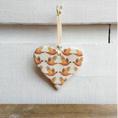 Pheasant Repeat Pattern Hanging Heart