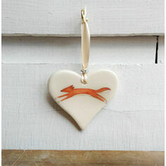 Leaping Fox Hanging Heart