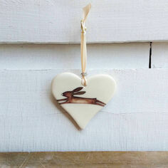 Leaping Hare Hanging Heart