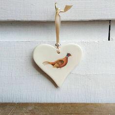 Standing Pheasant Hanging Heart