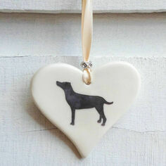 Black Labrador Hanging Heart