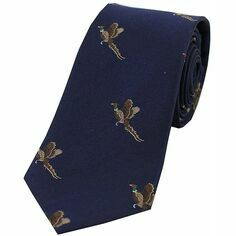 Soprano Navy Blue Luxury Silk Tie With Flying Pheasant Design