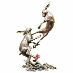 Limited Edition - Large Hares Boxing Bronze Sculpture